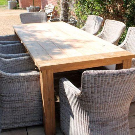 Tennyson Rectangular 200cm Sustainable Teak Table Dining Set