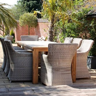 Tennyson Rectangular 200cm Sustainable Teak Table Dining Set