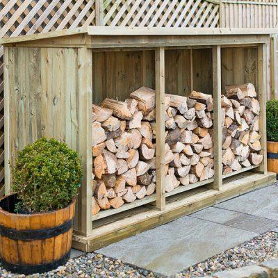 Triple Wooden Garden Log Store