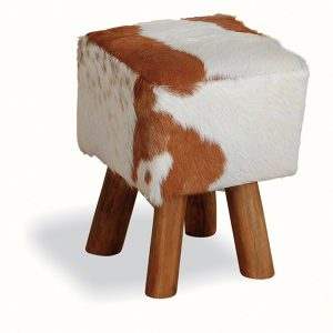 4 Leg Square Goat Skin Stool - Teak Root - Small 45cm tall