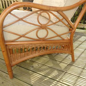 Anna 2 Seater Sofa Brown Cane Rattan + Luxury Cushions - side detail