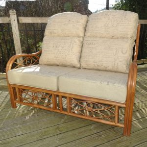 Anna 2 Seater Sofa Brown Cane Rattan + Luxury Madeline Parchment Cushions - front view