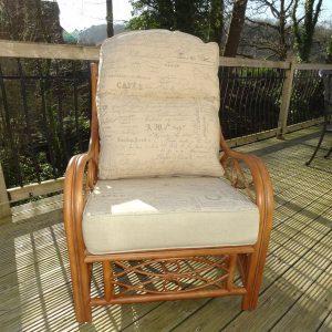 Anna Armchair Brown Cane Rattan + Luxury Cushions - front view