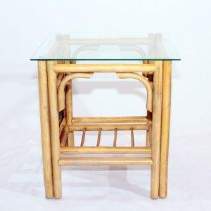 Barcelona Natural Cane Conservatory Side Table - showing storage shelf