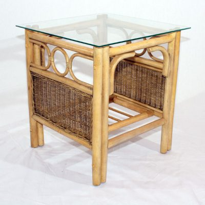 Barcelona Natural Cane Glass Top Conservatory Side Table