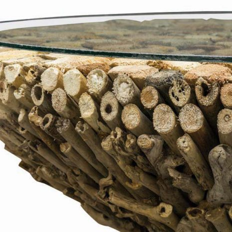Beachcomber Driftwood Coffee Table Glass Top 75cm Round - Close up
