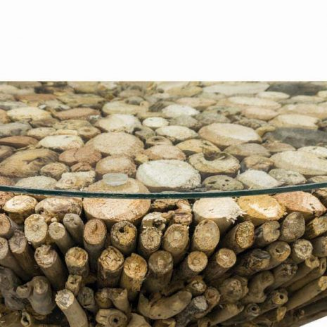 Beachcomber Driftwood Coffee Table Glass Top 75cm Round - Glass edge Close up
