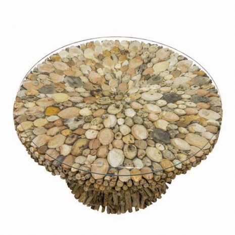 Beachcomber Driftwood Coffee Table Glass Top 75cm Round - Top down
