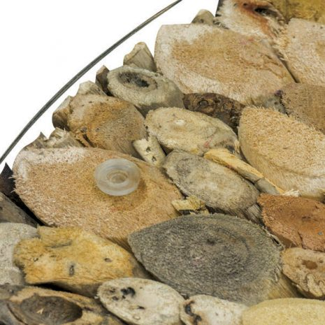 Beachcomber Driftwood Coffee Table Glass Top 75cm Round - Top down close up