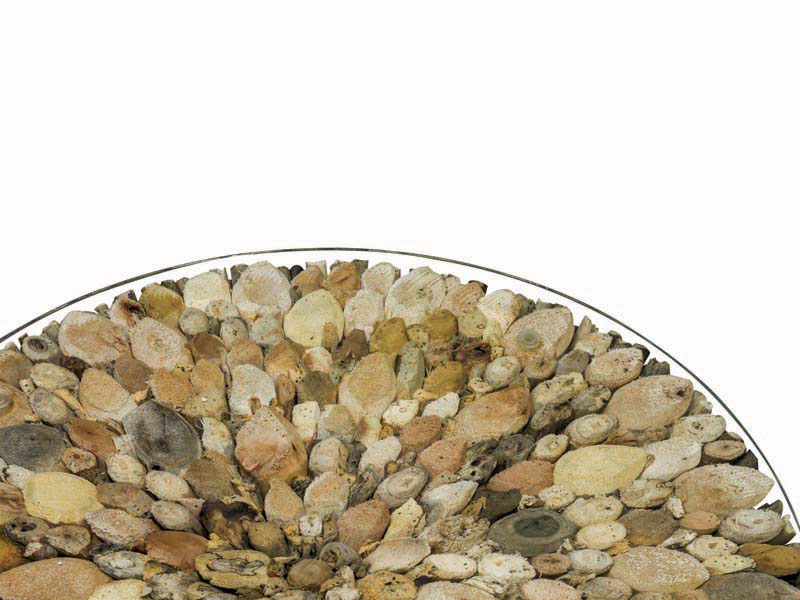 Driftwood Round Coffee Table Glass Top 75cm Beachcomber Collection