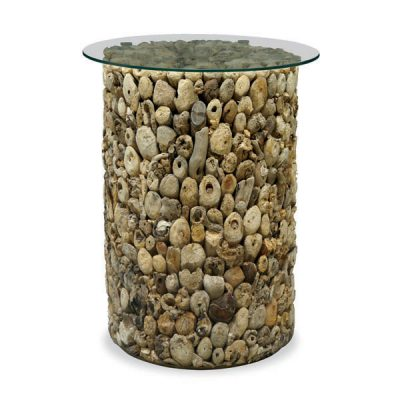 Beachcomber Driftwood Lamp Table Glass Top Round 61cm Tall Side Table