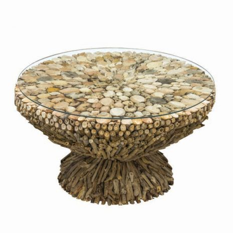Beachcomber Driftwood Round Coffee Table Glass Top 75cm