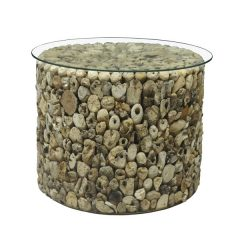 Beachcomber Driftwood Side Table Glass Top Round 52cm Lamp Table