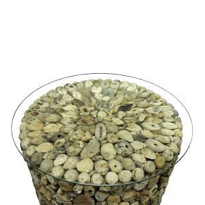 Beachcomber Driftwood Side Table Glass Top Round 52cm Lamp Table - Glass Top