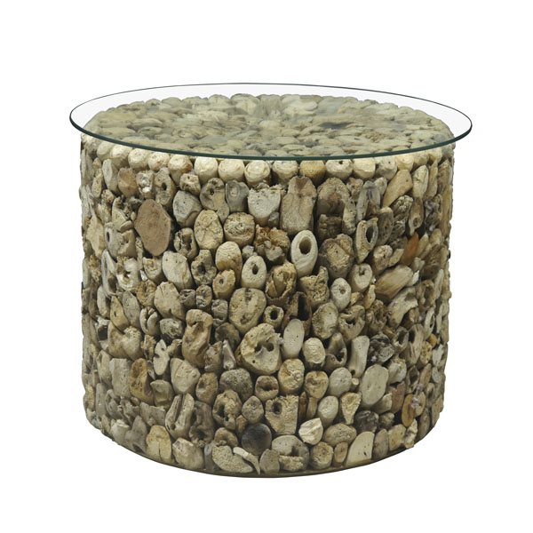 Beachcomber Driftwood Side Table Glass Top Round Drum 52cm