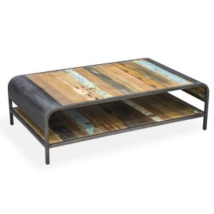 Beachcomber Large Recycled Boat Wood Coffee Table Rectangular Plus Shelf