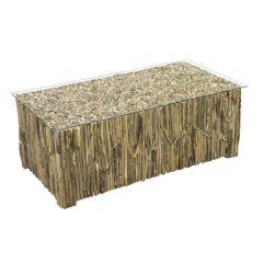 Beachcomber Rectangular Coffee Table Vertical Driftwood Glass Top - 3 quarter view