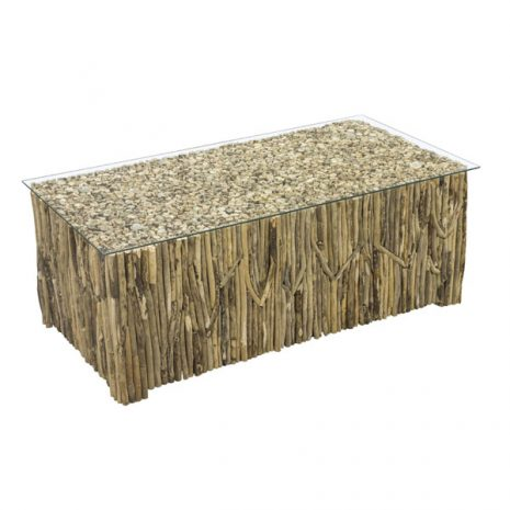 Beachcomber Rectangular Coffee Table Vertical Driftwood Glass Top - 3 quarter view
