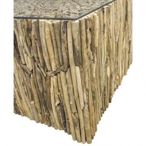 Beachcomber Rectangular Coffee Table Vertical Driftwood Glass Top - Corner