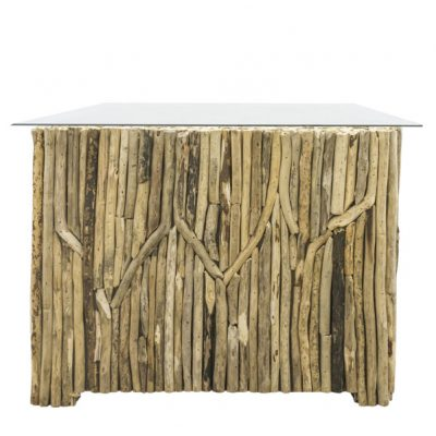 Beachcomber Rectangular Coffee Table Vertical Driftwood Glass Top - End view