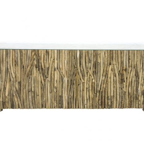 Beachcomber Rectangular Coffee Table Vertical Driftwood Glass Top - Front view