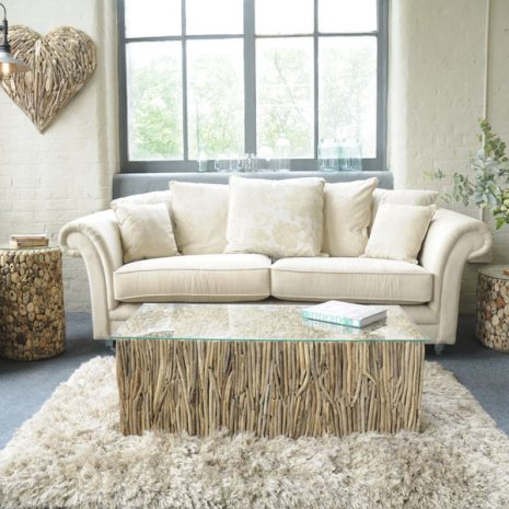 Beachcomber Rectangular Coffee Table Vertical Driftwood Glass Top - Setting