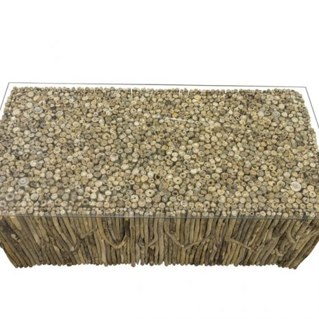 Beachcomber Rectangular Coffee Table Vertical Driftwood Glass Top - Table Top