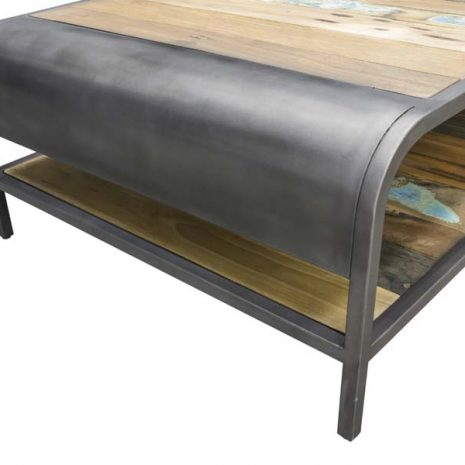 Beachcomber Recycled Boat Wood Coffee Table Large - End Close up