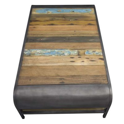 Beachcomber Large Recycled Boat Wood Coffee Table Large Plus Shelf From above 2