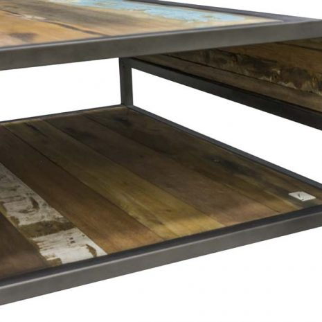 Beachcomber Recycled Boat Wood Coffee Table - Shelf Interior