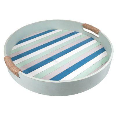 Beachcomber Round Wooden Picnic Trays – Set of 2