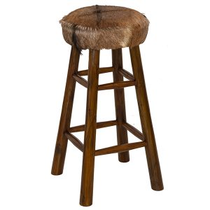Goat Skin High Bar Stool Round 4 Leg Dark Teak 80cm