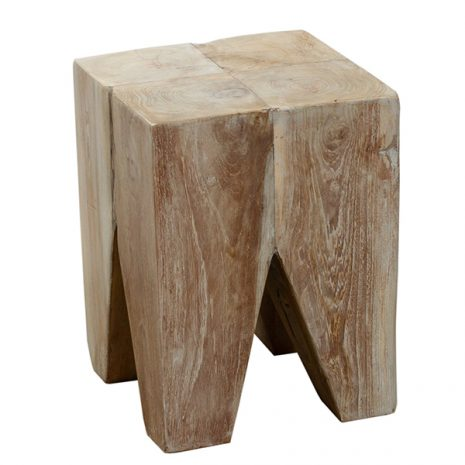 Grey Teak Root Stool Side Table Square 30cm Reclaimed Teak