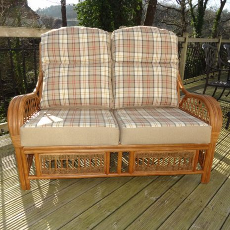 Mona Lisa 2 Seater Sofa Brown Cane Rattan + Luxury Lewis Red Cushions - front view