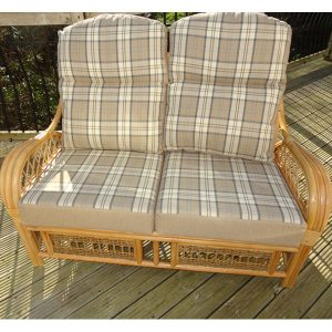 Mona Lisa Natural Cane 4 Piece Conservatory Suite. 2 Seater Sofa Natural Cane Rattan + Luxury Lewis Blue Cushions - front view 2