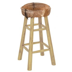Natural Teak Goat Skin High Bar Stool 4 Leg Round 80cm tall