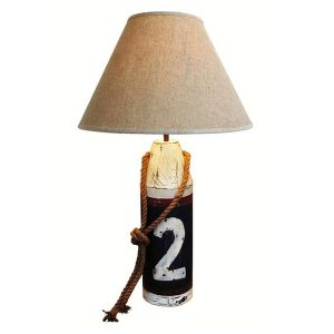 Wooden Buoy Table Lamp Plus White Shade