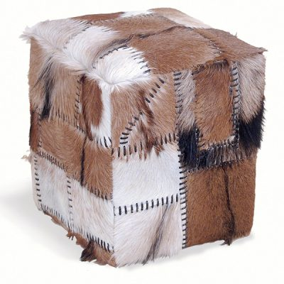 Patchwork Goat Skin Box Stool 47cm tall Teak Frame