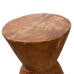 Round Teak Root Stool Side Table 30cm Natural Finish