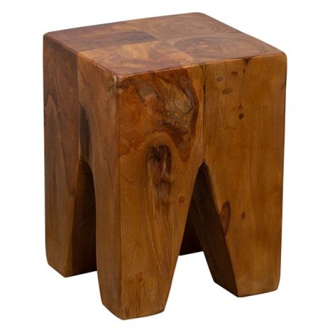 Reclaimed Tree Root Stool Side Table Square 30cm Natural Wood Finish