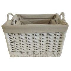 Rectangular Rattan Basket Set Linen Lined With Handles