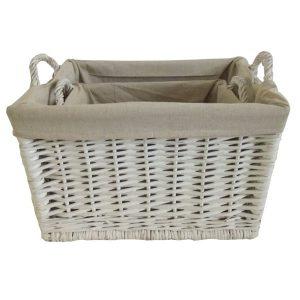 Rectangular Rattan Basket Set Linen Lined With Handles