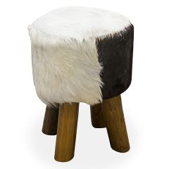 4 Leg Round Goat Skin Stool Teak Root Small 45cm