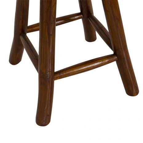Round Goat Skin Bar Stool 4 Leg Dark Teak 60cm tall - legs close up