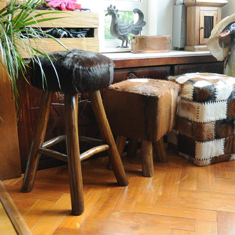 Round Goat Skin Bar Stool 4 Leg Dark Teak 60cm with other goat skin stools