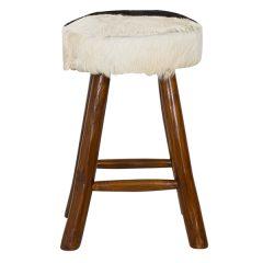 Round Goat Skin Bar Stool 4 Leg Dark Teak 60cm tall front