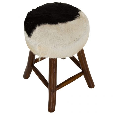 Round Goat Skin Bar Stool 4 Leg Dark Teak 60cm tall top