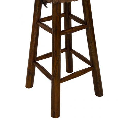 Round Goat Skin High Bar Stool 4 Leg Dark Teak 80cm tall - close up of legs