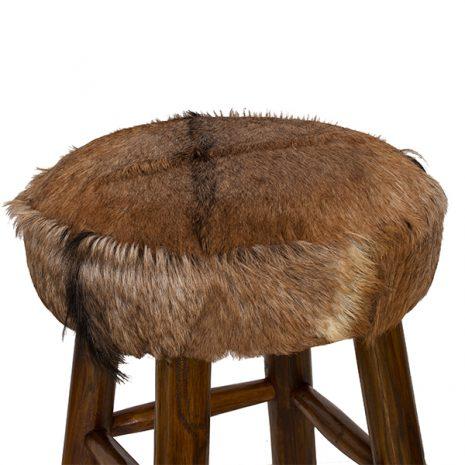 Round Goat Skin High Bar Stool 4 Leg Dark Teak 80cm tall top