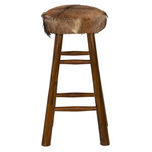 Round Goat Skin High Bar Stool 4 Leg Natural Teak 80cm tall front